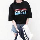 포타임 USA 남여공용 프린팅 반팔 티셔츠 2color
