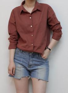 베이직 여자린넨셔츠