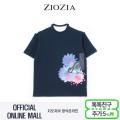 (지오지아/ZIOZIA) 면혼방 플라워패턴 포인트 그래픽 티셔츠(ABX2TR1115/네이비)