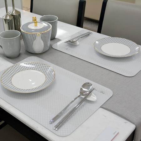 [느보아르] 테이블매트 강화유리 식탁매트 체크 SET