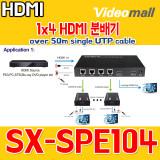 SX-SPE104 / 1x4 HDMI splitter over 50m single UTP cable
