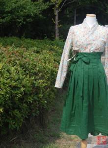 여성 철릭 투피스세트 녹빛 주름스커트 생활한복 세트