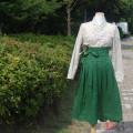 여성 철릭허리치마 녹빛 주름스커트 생활한복