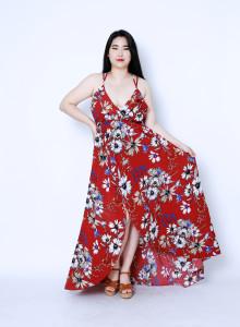 플로럴 쉬폰 스파게티 맥시 드레스