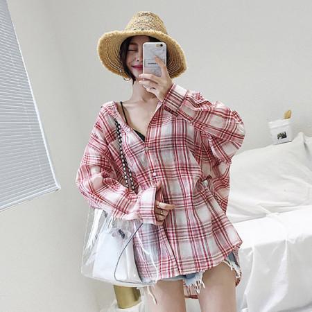 오버핏 체크 블라우스 셔츠 (2color)