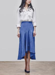 카인듀 / 자가드 스커트 / KINDEW jacquard skirt (bule)
