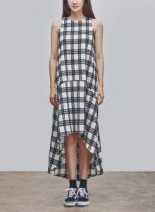 카인듀 / 체크 언벨런스 드레스 / KINDEW check unbalance dress (black)