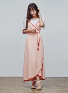 카인듀 / 랩 드레스 / KINDEW wrap dress (peach skin)