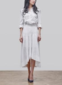 카인듀 / 자가드 스커트 / KINDEW jacquard skirt (white)