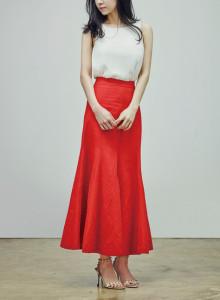 카인듀 / 린넨 스커트 / KINDEW linen skirt (red)
