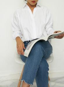 여성 심플 루즈핏 셔츠 (2color)