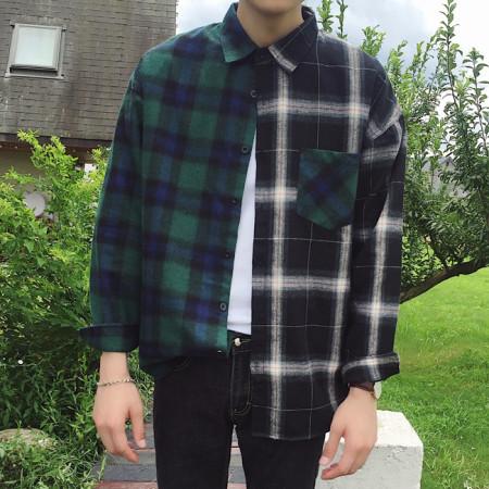 언발 더블 체크셔츠 / unbalance dubble check shirt (2color)