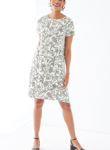 가을 원피스 J.Jill Wearever Swing Dress - cream nouveau floral