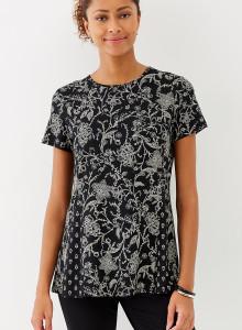 가을 티셔츠 J.Jill Wearever Seamed Peplum Top - black nouveau floral