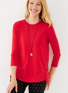 가을 티셔츠 J.Jill Perfect Pima Side-Button Tee - pimento