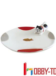 일본캐릭터 간식을 노리는 고양이 접시 3개 묶음