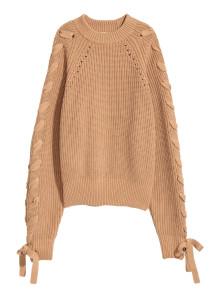 H&M 니트 레이스 스웨터 다크 베이지