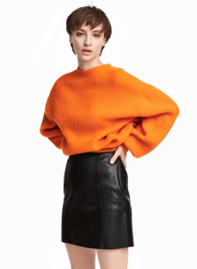 H&M 립 니트 스웨터 오랜지