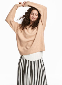 H&M 파인 니트 스웨터 베이지