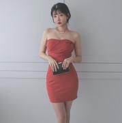 럭셔리 파티룩 탑원피스 섹시미니 셔링