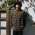 옐로우 오버핏 체크 셔츠