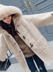 [해외] 여성 떡볶이 코트 경적 버클 모직 자켓 롱 2017 신