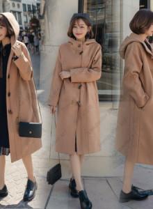 [해외] 여성 떡볶이 코트 긴 모자 포옹 학생 모직 자켓에 가을과 겨울
