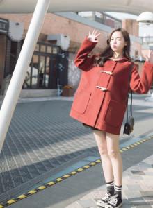 [해외] 여성 떡볶이 코트 작은 경적 단추 대학 바람 2017