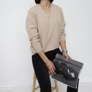 여성 기본 브이넥 니트 (4color)