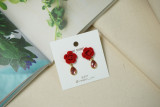 [온유어 귀걸이]ON_1085_로즈드롭핑크 장미꽃귀걸이