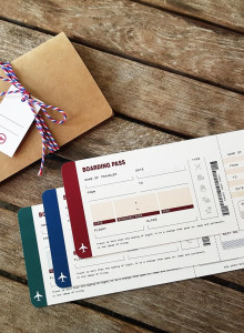 BOARDING PASS 에어티켓 엽서 3종 + 에어티켓 봉투