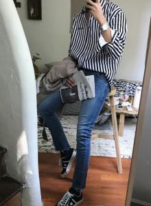 자수 스트라이프 셔츠 / stripe shirt (3color)