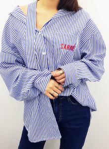 여자 언발란스 스트라이프 오버핏 셔츠 2color