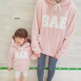 (사이즈할인)하이츄 엄마랑딸 커플룩 양털후드티[아이보리, 핑크] 딸(M) 엄마(free)