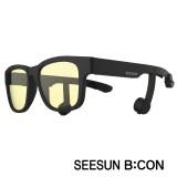 시선비콘1-2) 골전도안경/골전도블루투스이어폰(무광블랙/블랙/블랙/청광:실내용:TV,모니터등)