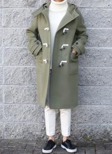 울 후드 더플 코트