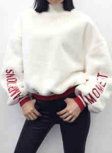 여자 오버핏 퍼프소매 퍼 맨투맨 티셔츠 2color
