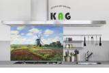 주방아트보드 키친아트갤러리(명화)- 모네 - 리진버그 풍차와 튤립들판 (Large 사이즈)