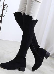 [국내제작] 스웨이드 모던 베이직 미들굽 니하이부츠 /2color/5cm (255mm,260mm,265mm)