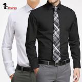 남자 흰색 와이셔츠 MS51 슬림핏 긴팔셔츠 (검정색 하얀색)