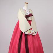 [중고][A급] 여성한복 A432 (99 사이즈) 화사하고 예쁜 전통한복