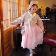 (봄신상)욜로 샤샤 설날한복 저고리+원피스+조바위+복주머니가방 4세트[핑크] XS~XL