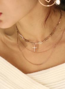 14K 십자가 사각 체인 목걸이