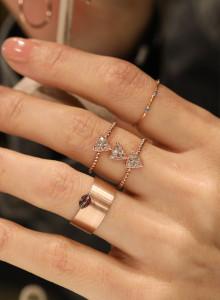14K 투 라인 쓰리 트라이앵글 반지